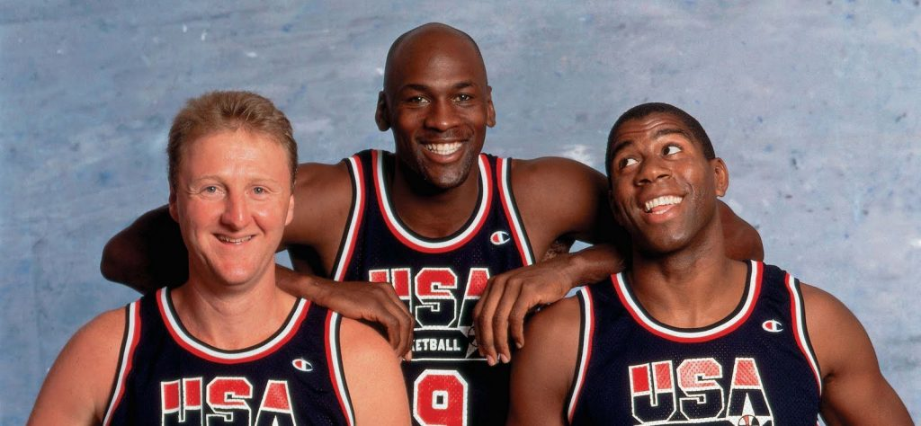 Larry Bird, Michael Jordan et Magic Johnson sous le maillot de Team USA