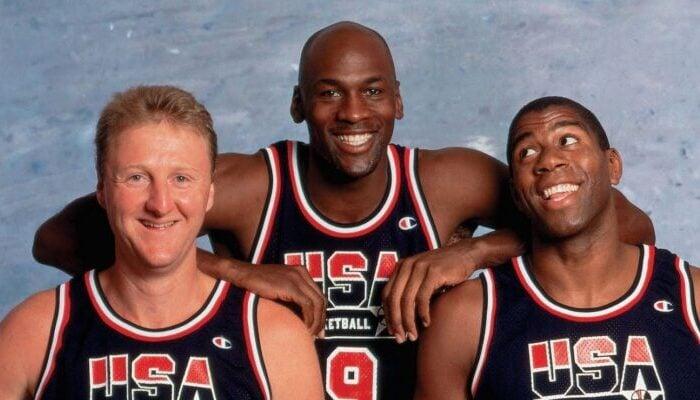 Larry Bird, Michael Jordan et Magic Johnson sous le maillot de Team USA