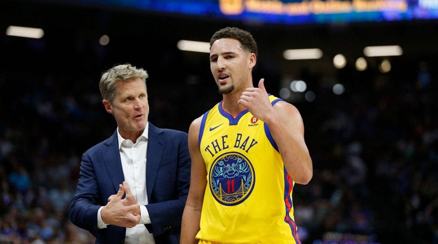 warriors steve kerr klay thompson