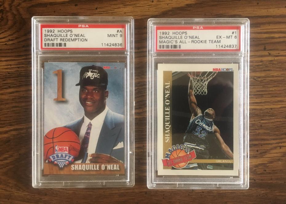 Les cartes de sport Shaquille O'Neal en 1992