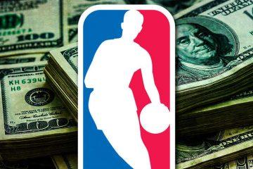 Le logo de la NBA sur des liasses de billets.