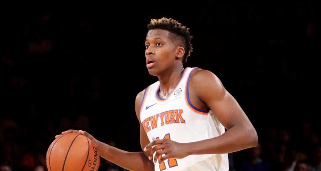Frank Ntilikina lors de la pré-saison des Knicks.
