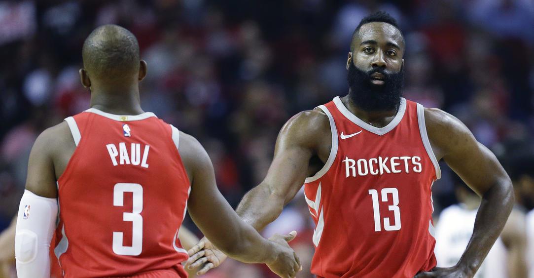 Chris Paul et James Harden sous le maillot des Rockets