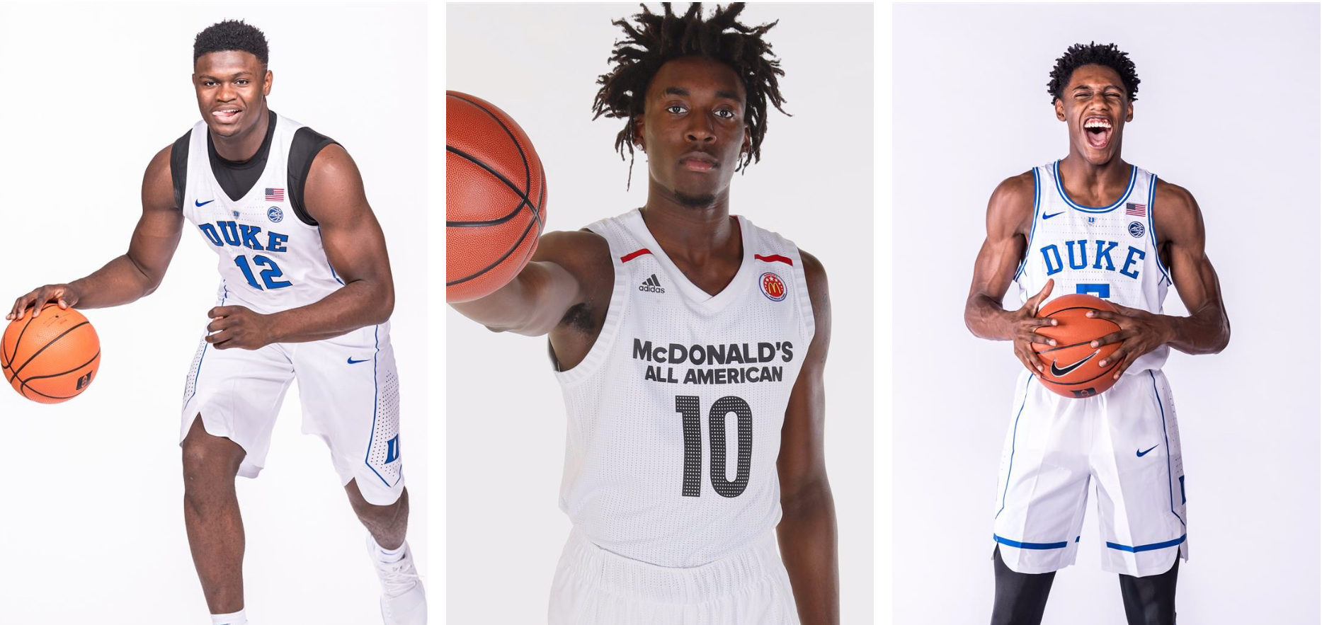 Zion Williamson, Nassir Little et R.J. Barrett