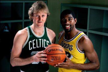 Deux légendes de la NBA, le Celtic Larry Bird et le Laker Magic Johnson.