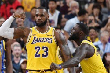 LeBron James et Lance Stephenson sous le maillot des Lakers