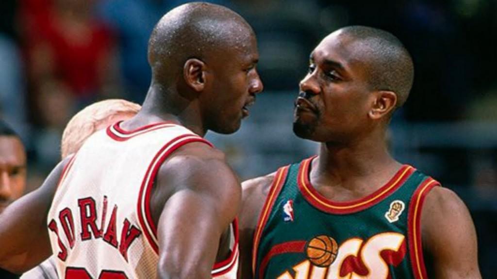 Michael Jordan et Gary Payton durant leur rivalité