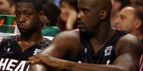 Dwyane Wade et Shaquille O'Neal sous le maillot du Heat