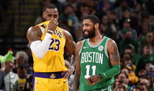 Kyrie Irving des Celtics et LeBron James des Lakers