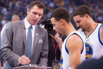 Luke Walton avec Curry et Thompson