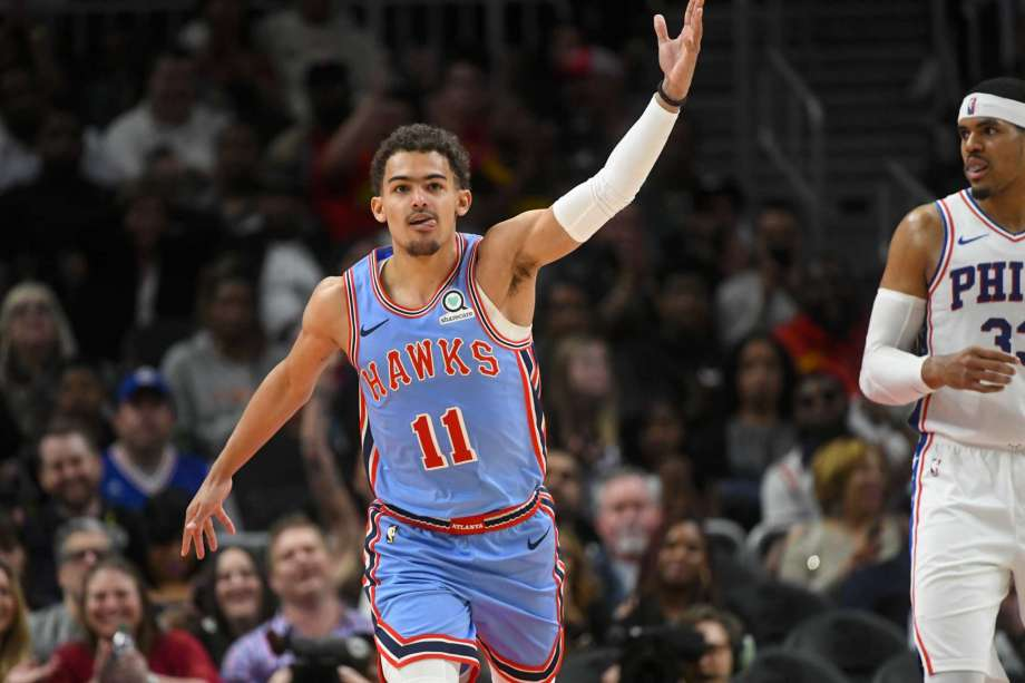 Trae Young tacle Ben Simmons