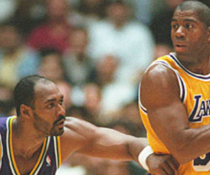 Karl Malone Utah Jazz Magic Johnson Los Angeles Lakers
