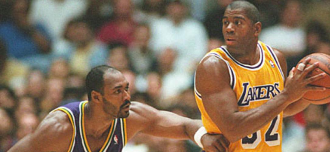 Karl Malone Utah Jazz Magic Johnson Los Angeles Lakers