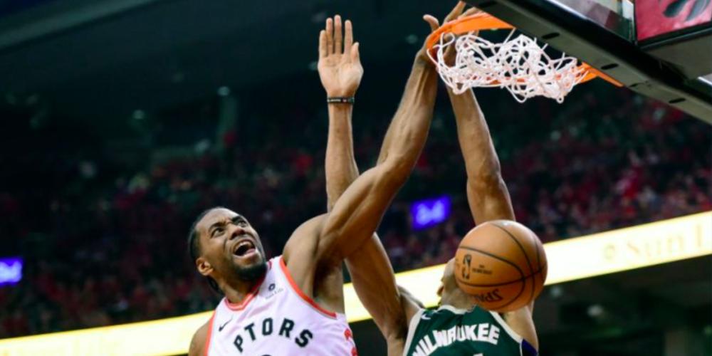 Kawhi Leonard Giannis Antetokounmpo Dunk Poster Toronto Raptors Milwaukee Bucks