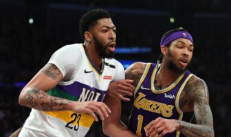 Anthony Davis au duel avec Brandon Ingram
