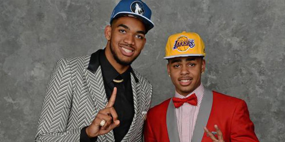 Karl-Anthony Towns et D'Angelo Russell, les deux premiers choix de la Draft 2015 sélectionnés par les Minnesota Timberwolves et les Los Angeles Lakers