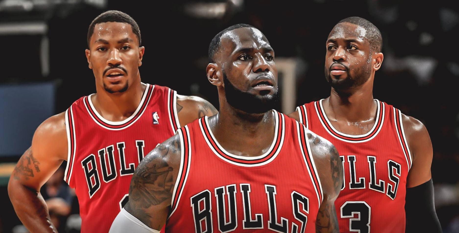 Derrick Rose, LeBron James et Dwyane Wade Chicago