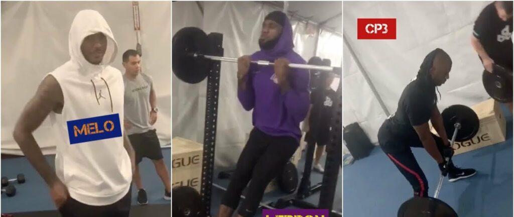 Carmelo Anthony, Chris Paul et LeBron James s'amusent à l'entraînement