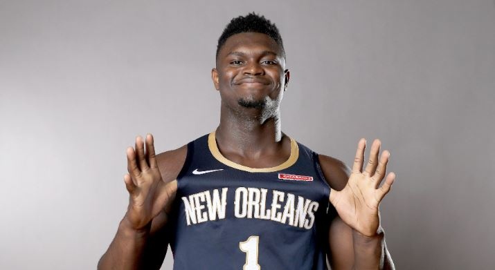 Zion Williamson lors du photoshoot des rookies