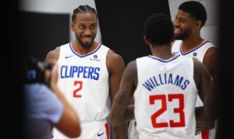 Kawhi Leonard, Lou Williams et Paul George durant le media day des Clippers