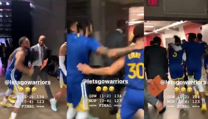 Stephen Curry et D'Angelo Russell fêtent la victoire des Warriors