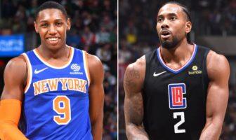 RJ Barrett des Knicks et Kawhi Leonard des Clippers