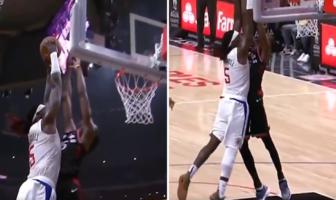NBA - Montrezl Harrell subit un des contres les plus sales du début de saison !