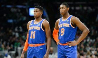 Frank Ntilikina et RJ Barrett sous le maillot des Knicks