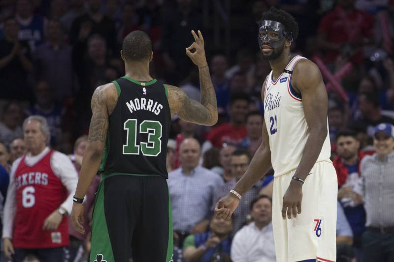 NBA - Joel Embiid taclé par Marcus Morris après leur altercation