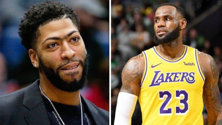 Anthony Davis et LeBron James sous le maillot des Lakers