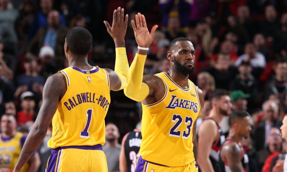 LeBron James et Kentavious Caldwell-Pope des Lakers