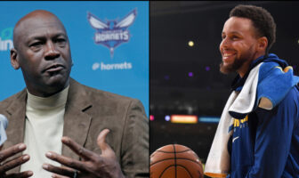 Michael Jordan taclé par Stephen Curry