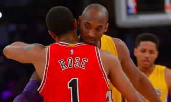Derrick Rose et Kobe Bryant se serrent dans les bras