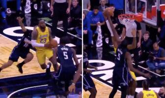 Mohamed Bamba au contre sur LeBron James lors du match Lakers contre Mgic
