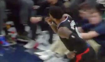 Paul George des Los Angeles Clippers qui dit aux fans des Pacers de se taire