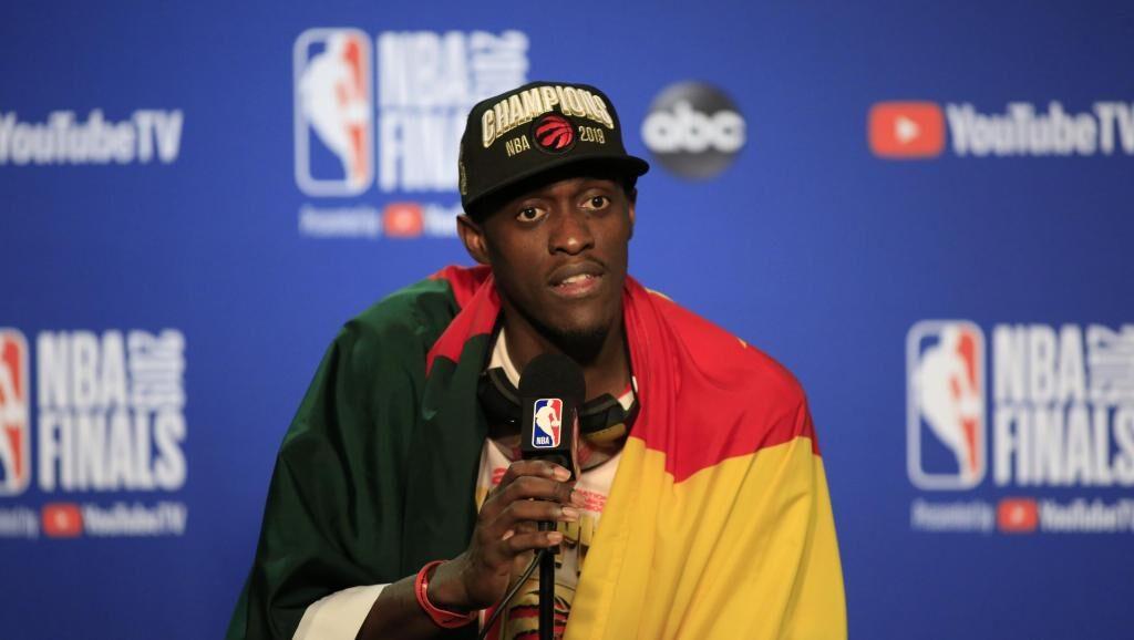Pascal Siakam en conférence de presse après le titre des Raptors