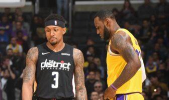 Bradley Beal des Wizards et LeBron James des Lakers