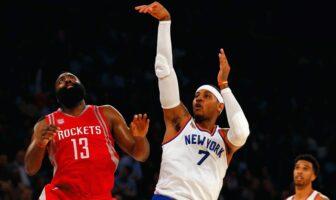 James Harden regarde Carmelo Anthony shooter