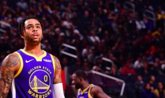 d'angelo russell sous le maillot des warriors