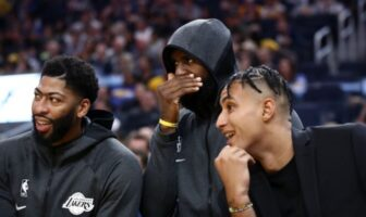 Anthony Davis, LeBron James et Kyle Kuzma des Lakers