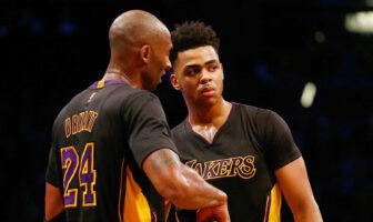Kobe Bryant et D'Angelo Russell sous le maillot des Lakers