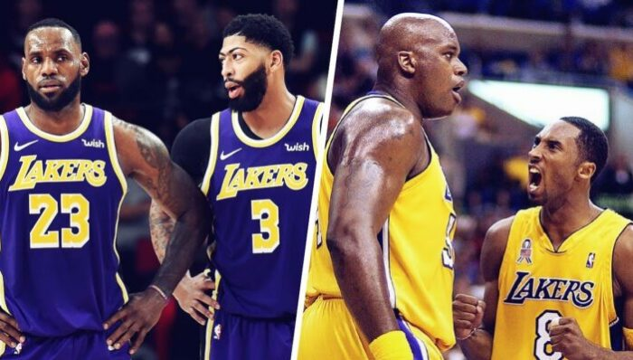 LeBron James, Anthony Davis, Shaquille O'Neal et Kobe Bryant