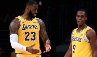 LeBron James et Rajon Rondo échangent sous le maillot des Lakers