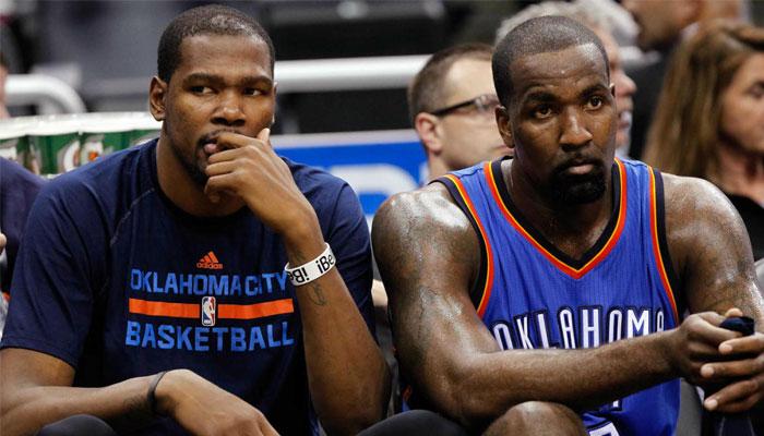 Kevin Durant et Kendrick Perkins à l'époque Oklahoma City Thunder