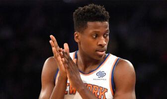 Frank Ntilikina sous le maillot des Knicks de New York