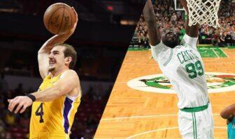 Alex Caruso des Lakers et Tacko Fall des Celtics