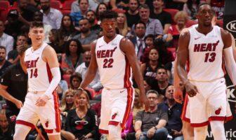 Tyler Herro, Jimmy Butler et Bam Adebayo du Heat
