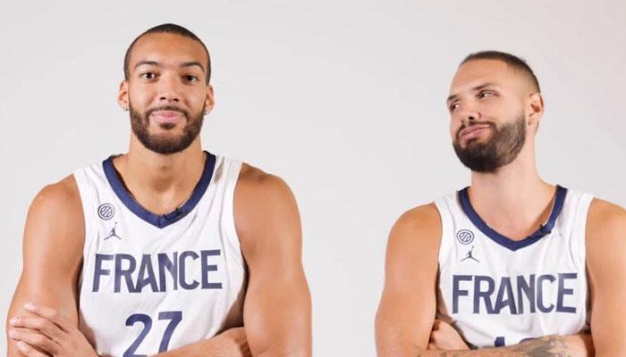 Evan Fournier et Rudy Gobert sous le maillot de l'équipe de France