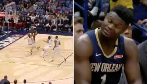 NBA – Inconscient, Kevin Love prend une charge par Zion Williamson !