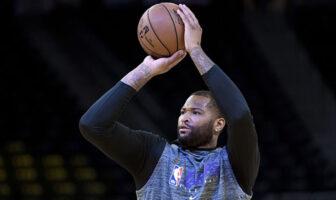 DeMarcus Cousins prend un tir lors d'un échauffement des Los Angeles Lakers